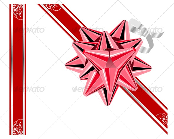 Red bow with ribbons isolated on white. - Seasons/Holidays Conceptual