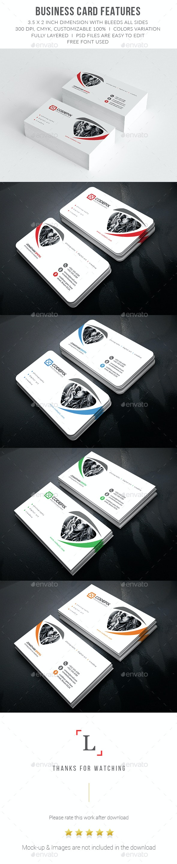 Clean Photography Business Card - Business Cards Print Templates