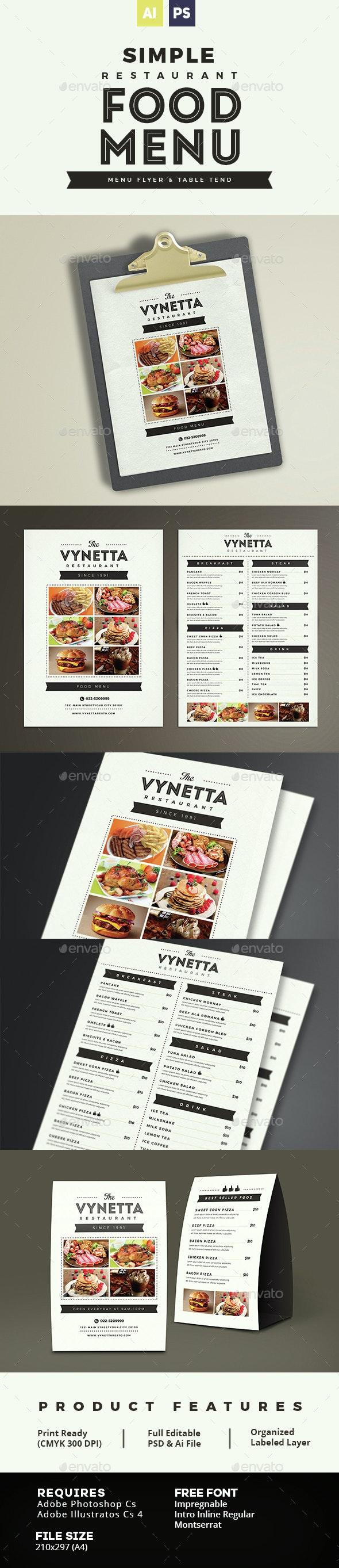Simple Restaurant Food Menu - Food Menus Print Templates