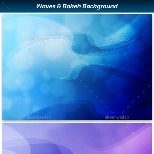 Waves and bokeh abstract background