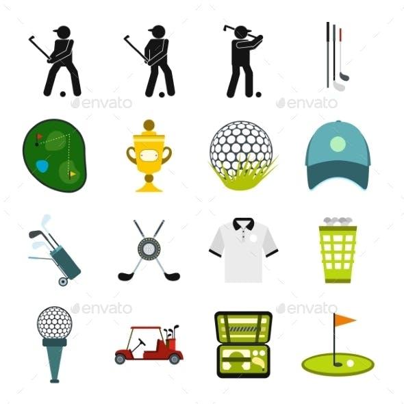Golf Flat Icons Set