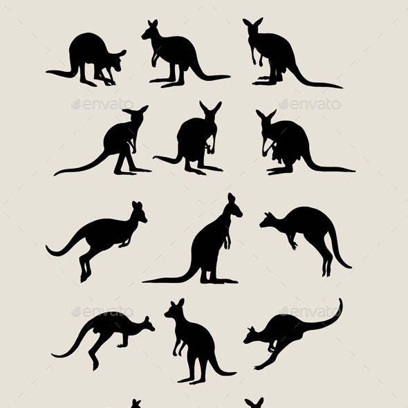 Kangaroo and Giraffe Silhouettes