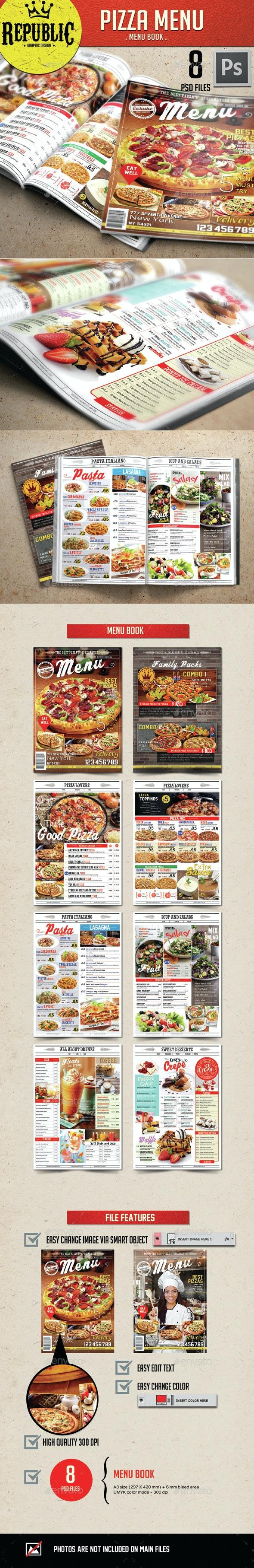 Restaurant Pizza Menu 1 - Food Menus Print Templates