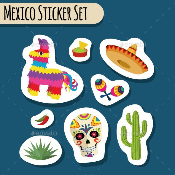 Mexico Bright Sticker Set with National Mexican Objects