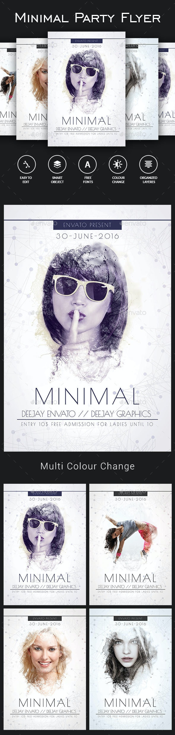 Minimal Party Flyer Template - Clubs & Parties Events