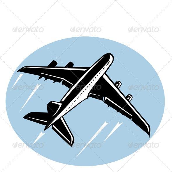 Jumbo Jet Plane Taking Off Retro Style