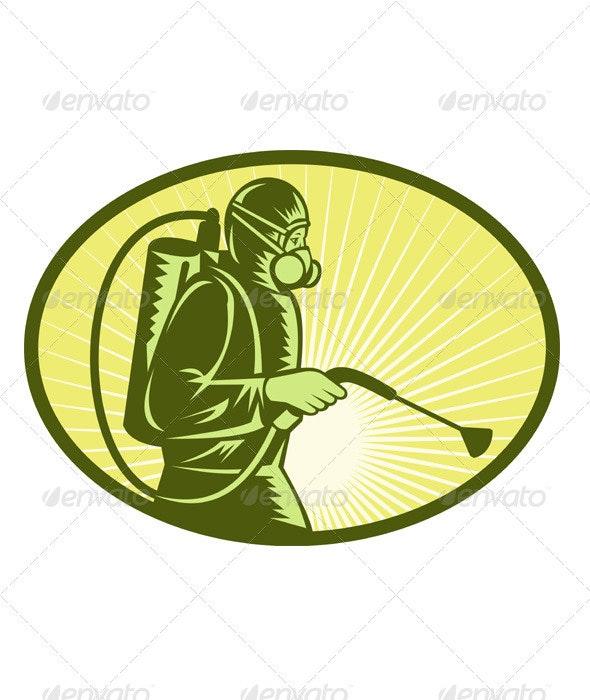 Pest Exterminator Spraying Retro - Industries Business