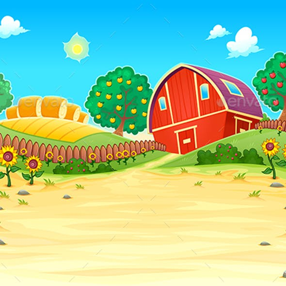 Funny Landscape with the Farm and Sunflowers