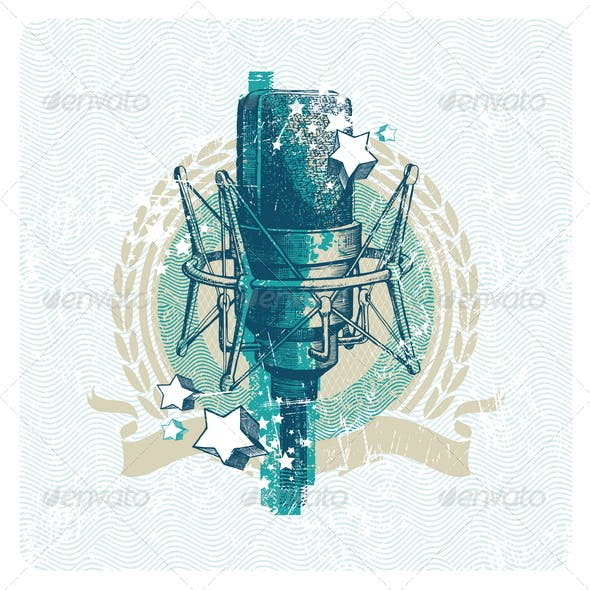 Musical Emblem With Hand Drawn Microphone