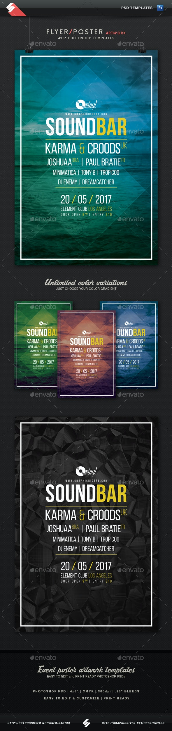 Sound Bar - Minimal Party Flyer Template - Clubs & Parties Events