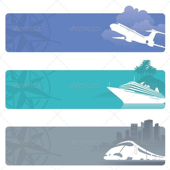Travel Banners With Contemporary Transport