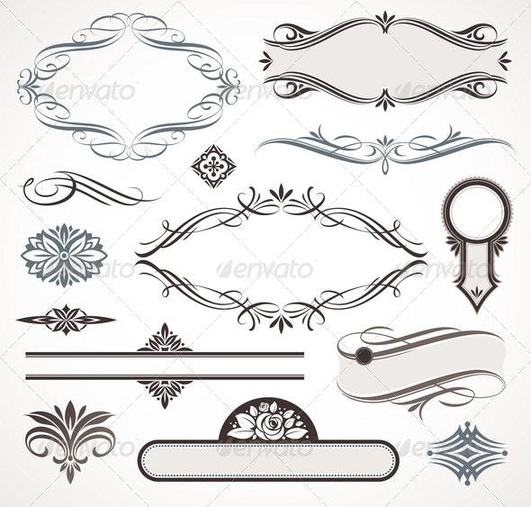 Calligraphic Design Elements & Page Decor - Decorative Vectors