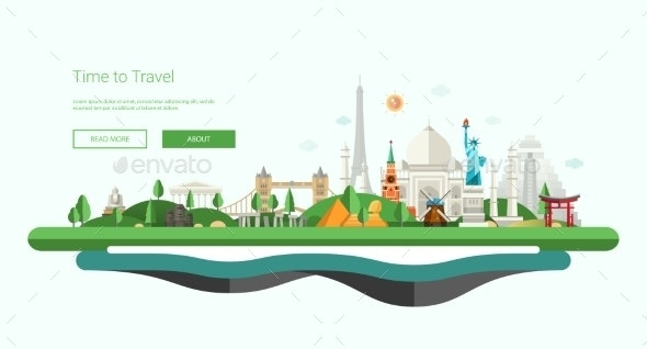 Flat Design Banner with World - Travel Conceptual