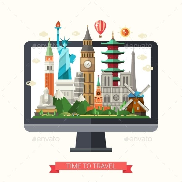 Flat Design Illustration with World Famous