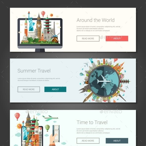 Flat Travel Design Banners