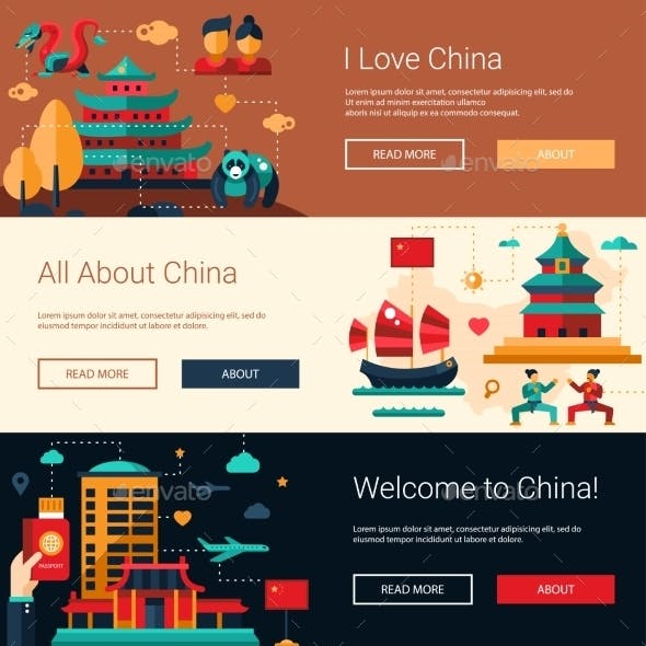 Flat Design China Travel Banners Set