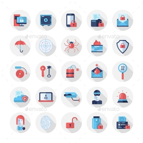 Security, Protection Modern Flat Design Icons