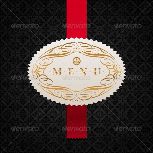 Calligraphic Ornate Label of Menu