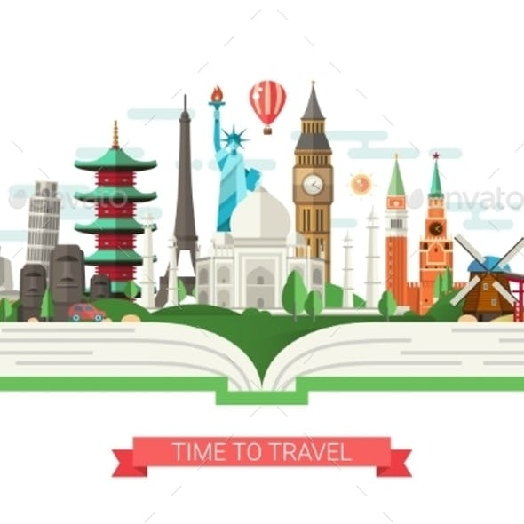 Flat Design Illustration with World Famous Landmarks