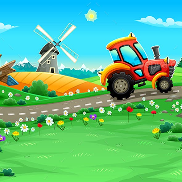 Landscape with Tractor on the Road
