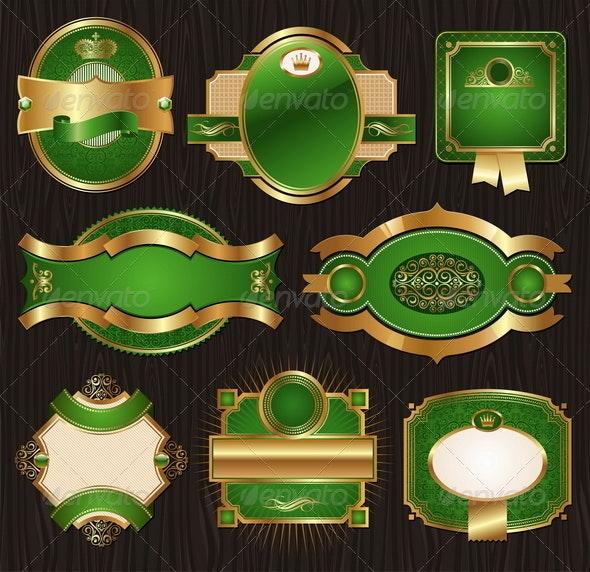 Golden & green Luxury Ornate Framed Labels - Decorative Vectors