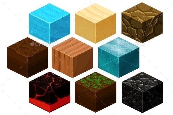 Isometric 3D Cube Textures Set - Web Elements Vectors