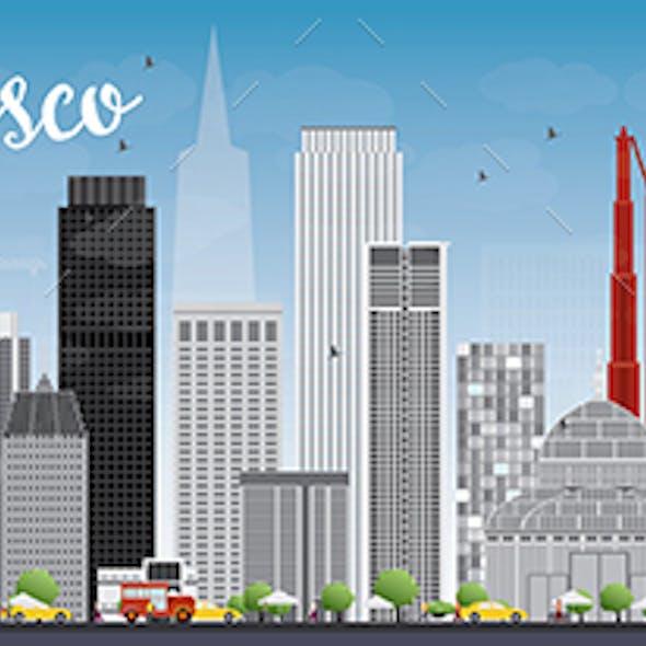 San Francisco Skyline with Gray Buildings and Blue Sky