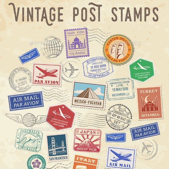 Vector Postage and Travel Stamps