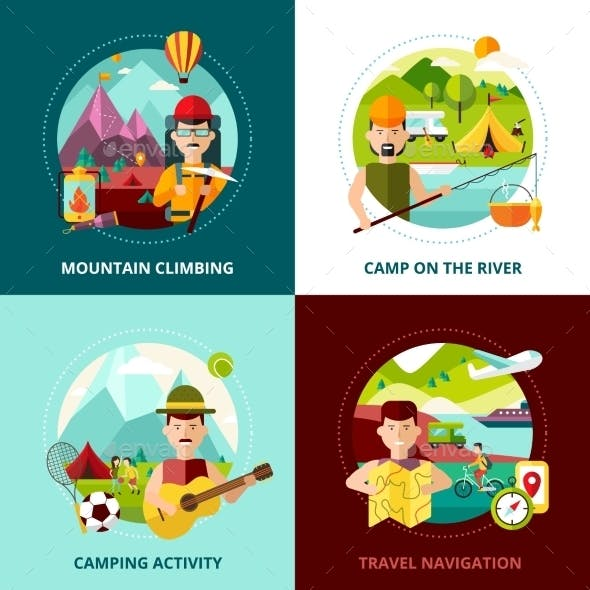 Camping Design Concept Banner