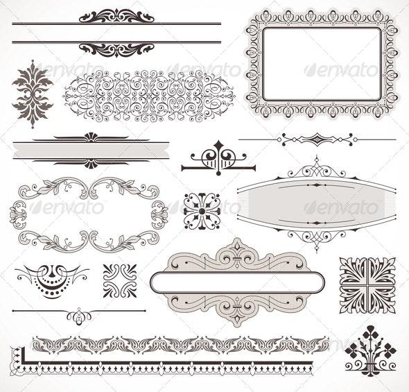 Set of Ornate Page Decor Elements - Decorative Vectors