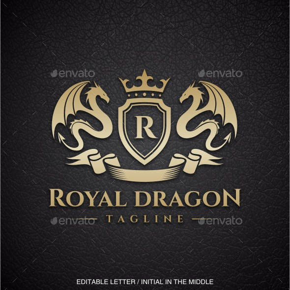 Royal Dragon (Editable Letter in the middle)