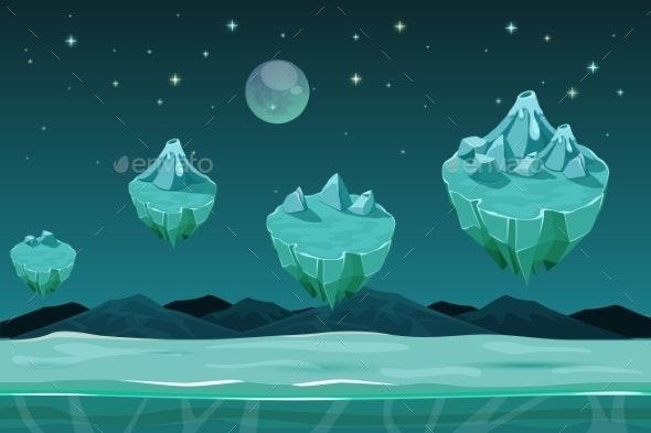 Frozen Game Planet Horizontal Seamless Background - Miscellaneous Vectors