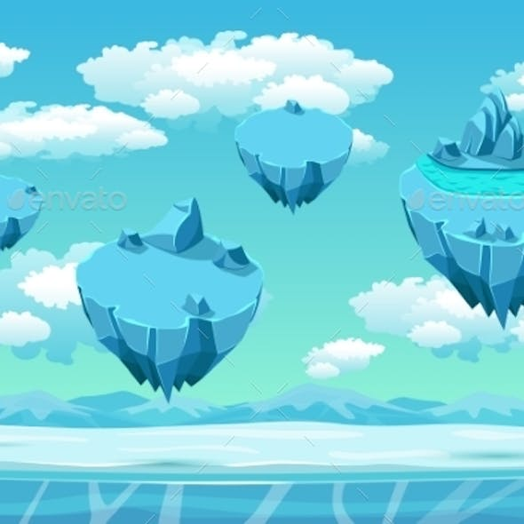 Ice and Snow with Ice Islands Seamless Background