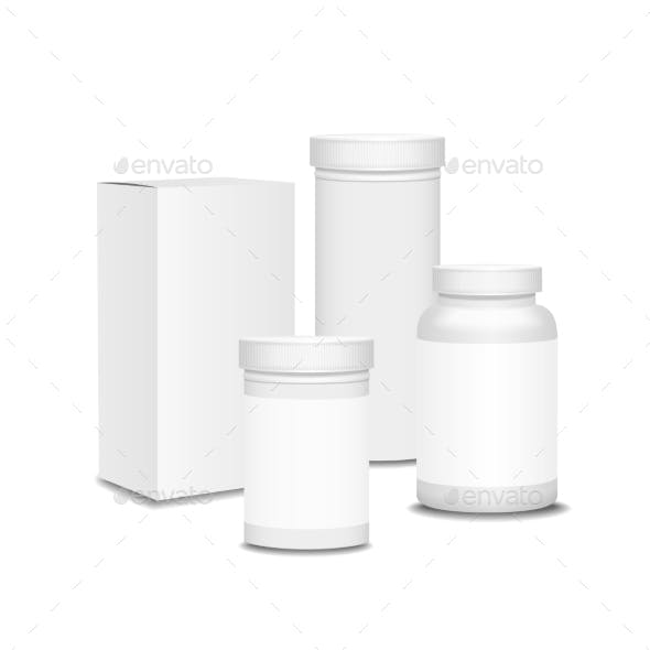 Blank Set of Plastic Packaging Bottles with Box