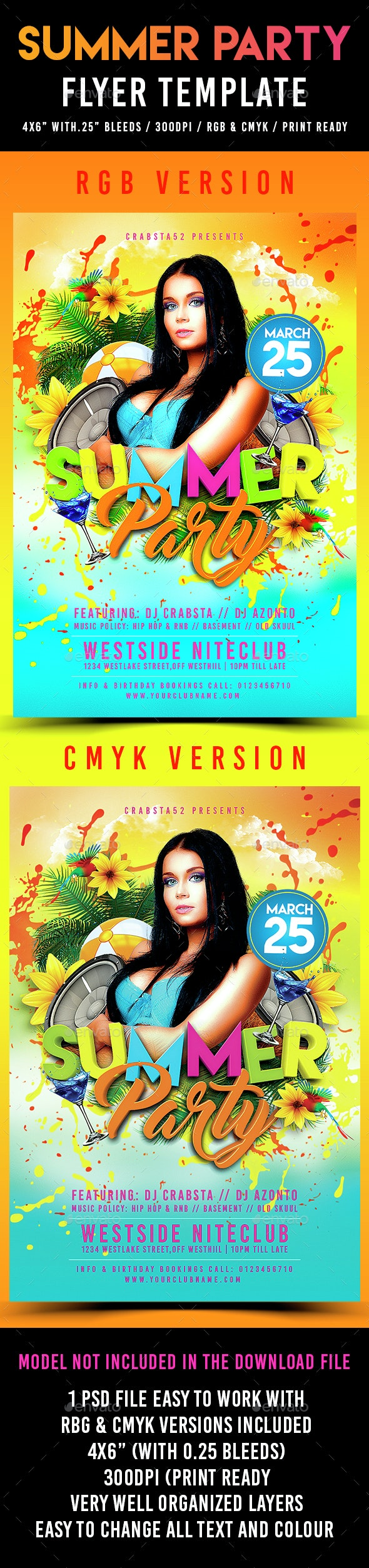 Summer Party Flyer Template - Events Flyers
