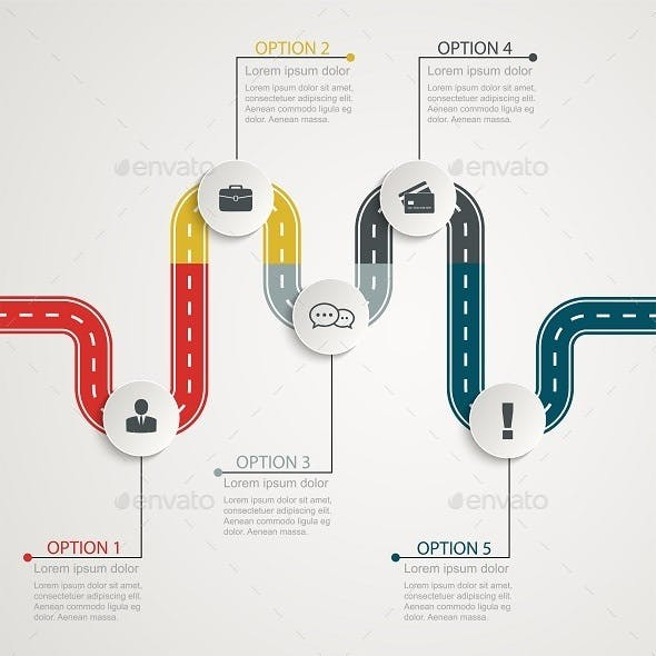 Colorful Road Infographic Timeline With Icons