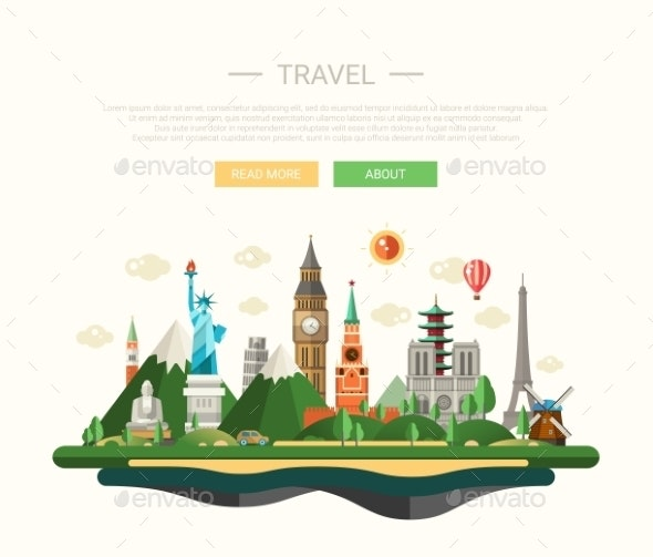 Flat Design Composition Illustration With World - Travel Conceptual
