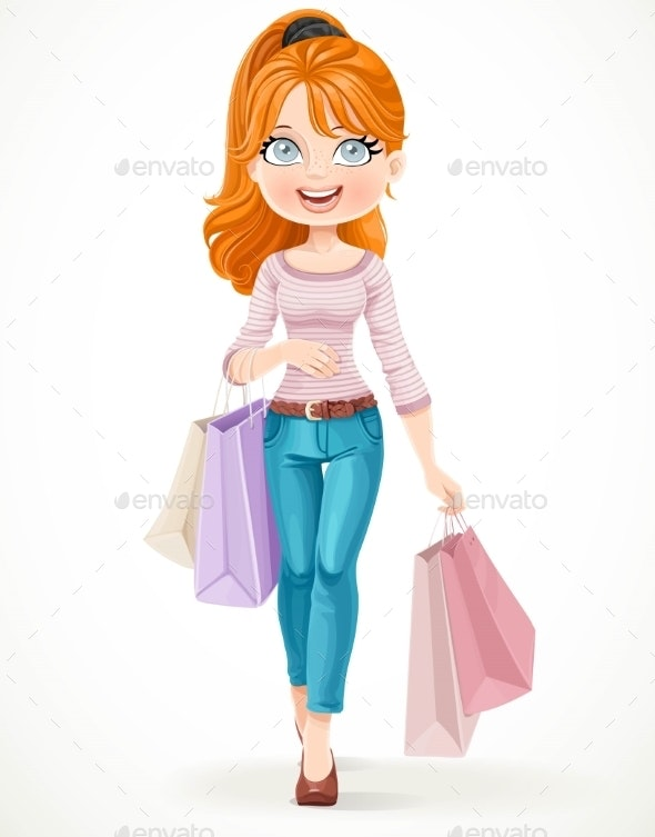 Girl Goes With Paper Bags - Commercial / Shopping Conceptual