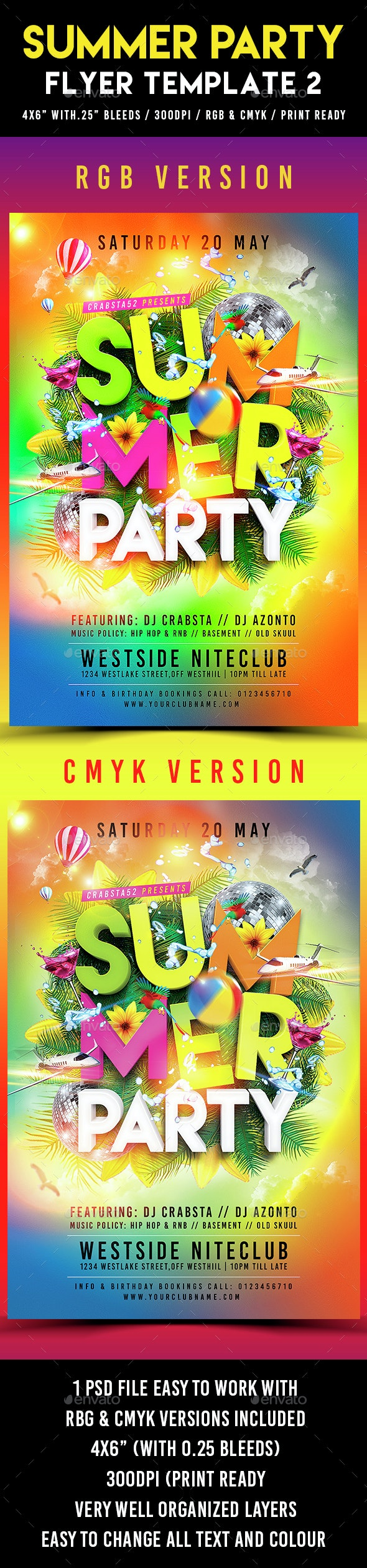 Summer Party Flyer Template 2 - Clubs & Parties Events