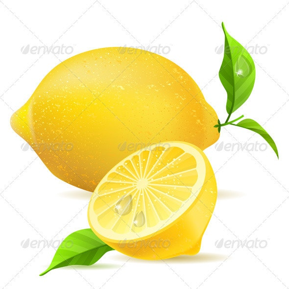 Realistic Lemon and Half with Leaves  - Food Objects