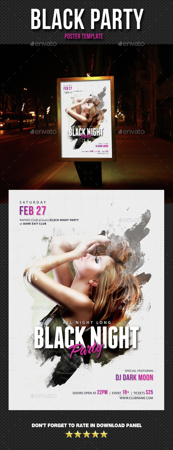 Black Party Event Poster - Signage Print Templates