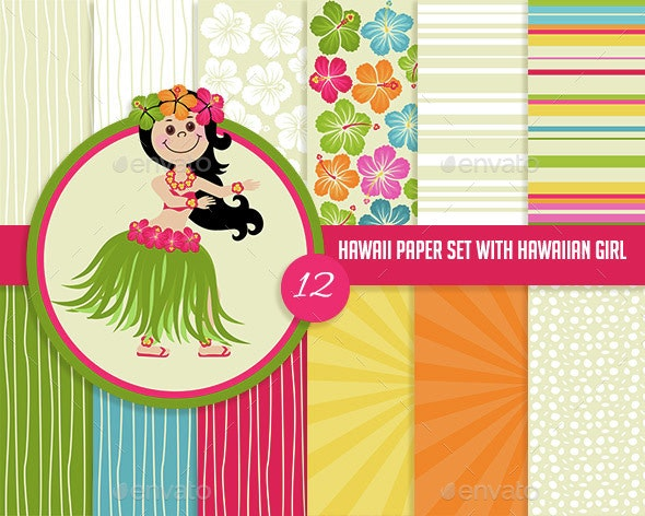 Digital Paper Set with Hawaiian Girl Illsutration - Patterns Backgrounds