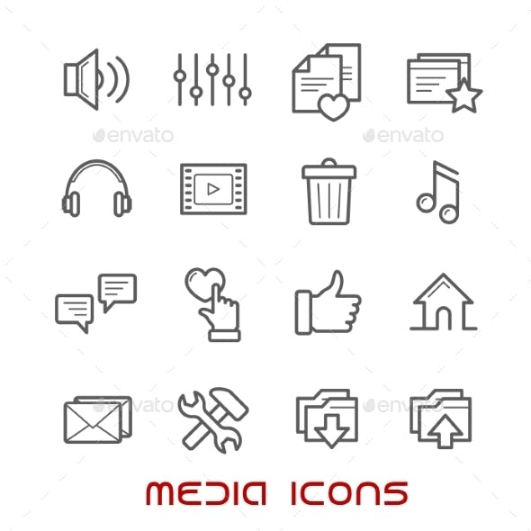Multimedia And Media Thin Line Icons