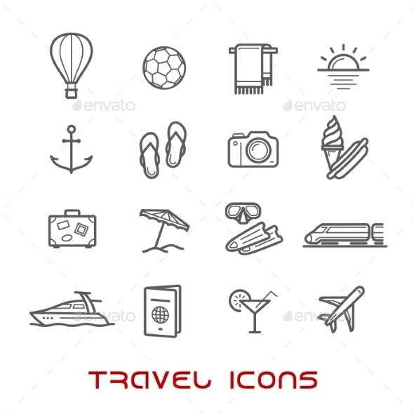 Travel And Leisure Thin Line Icons
