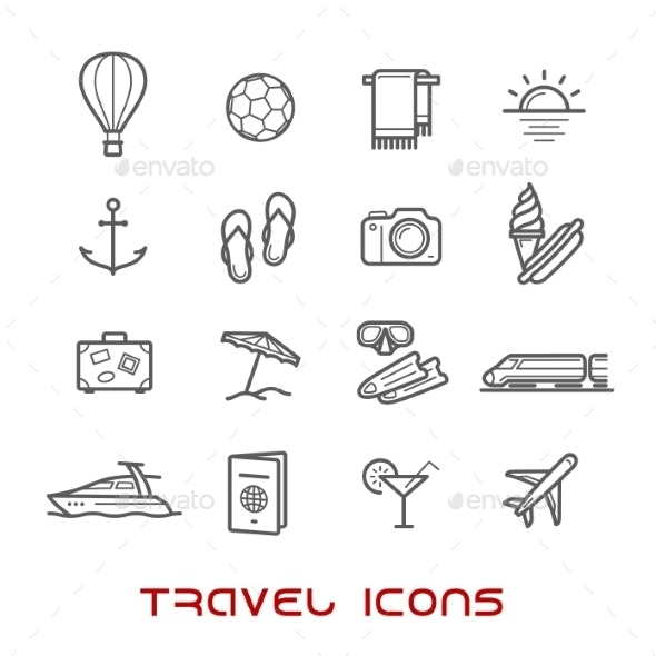 Travel And Leisure Thin Line Icons - Miscellaneous Icons