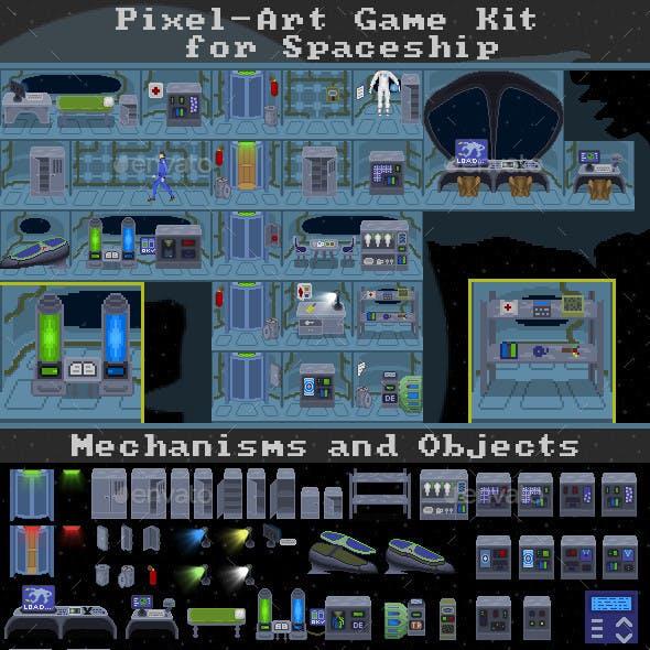 Pixel-Art Game Kit for Spaceship