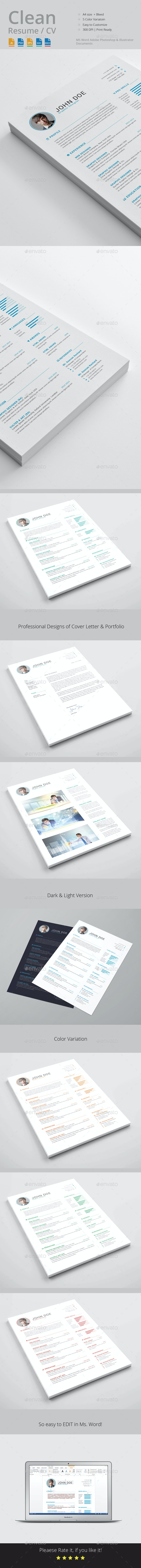 Clean Resume / CV Template - Resumes Stationery