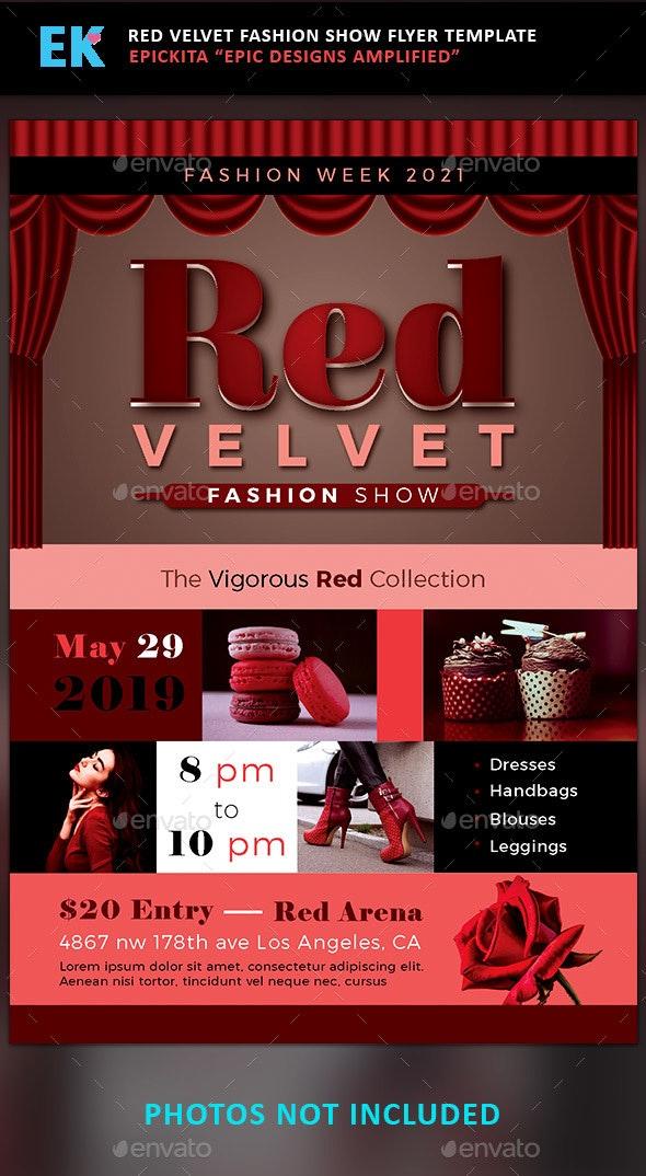 Red Velvet Fashion Show Flyer Template - Miscellaneous Print Templates