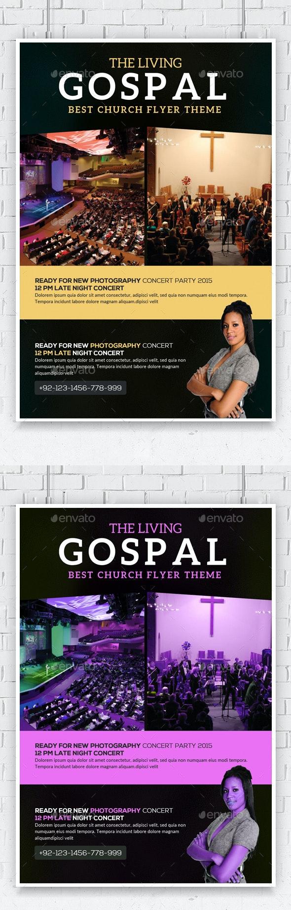 The Living Gospel Church Concert Flyer - Church Flyers
