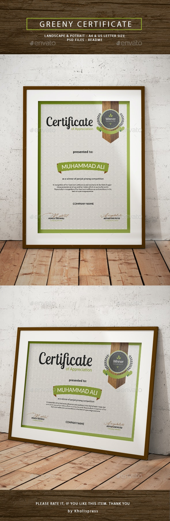 Greeny Certificate - Certificates Stationery